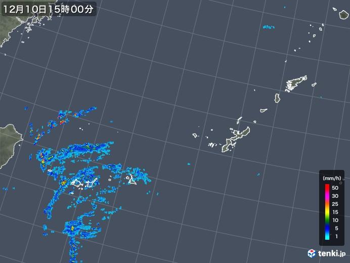 沖縄地方の雨雲レーダー(2019年12月10日)