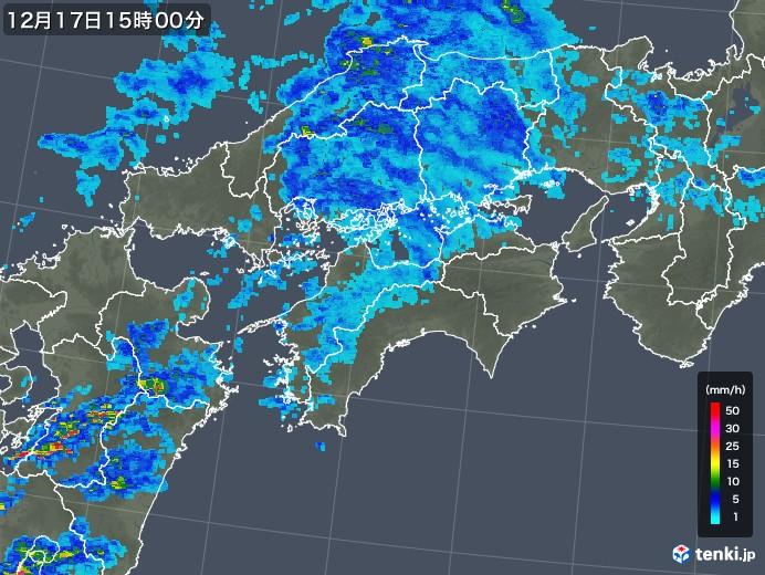 四国地方の雨雲レーダー(2019年12月17日)