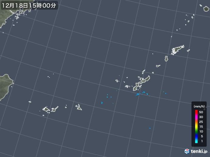 沖縄地方の雨雲レーダー(2019年12月18日)