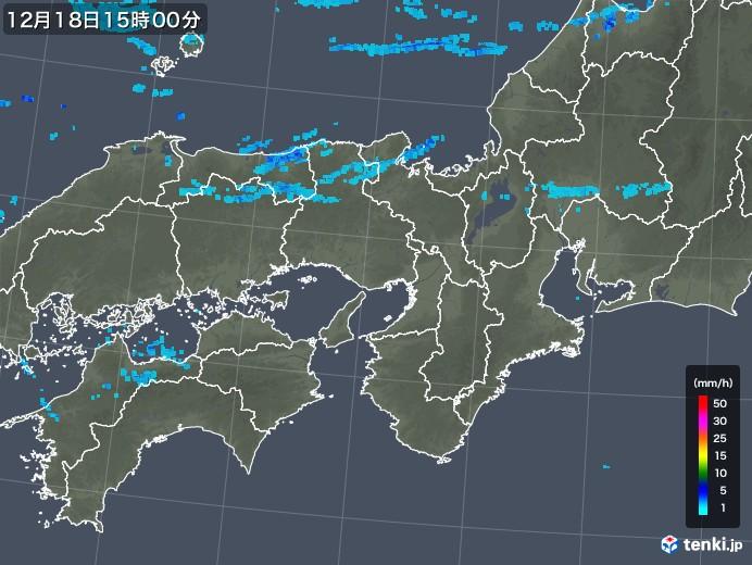 近畿地方の雨雲レーダー(2019年12月18日)