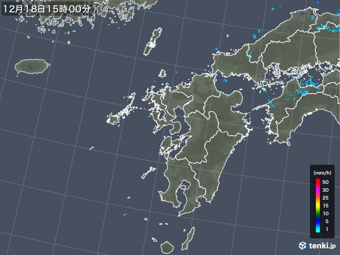 九州地方の雨雲レーダー(2019年12月18日)