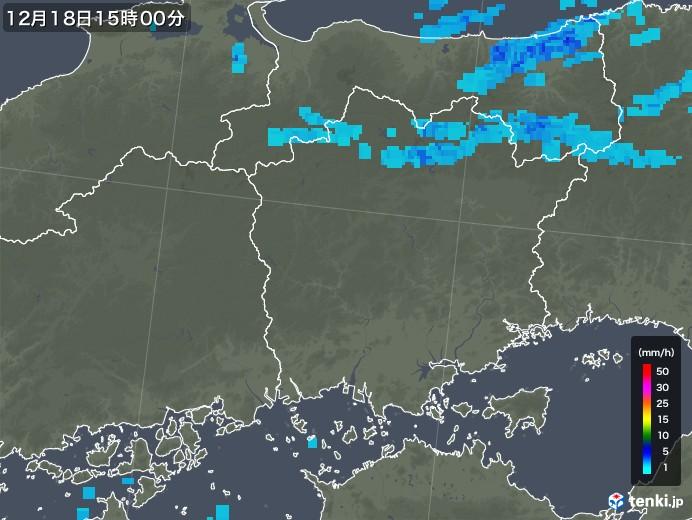 岡山県の雨雲レーダー(2019年12月18日)