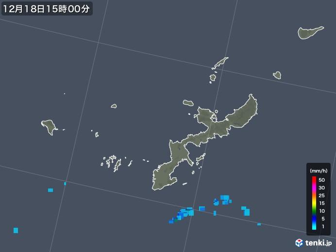 沖縄県の雨雲レーダー(2019年12月18日)