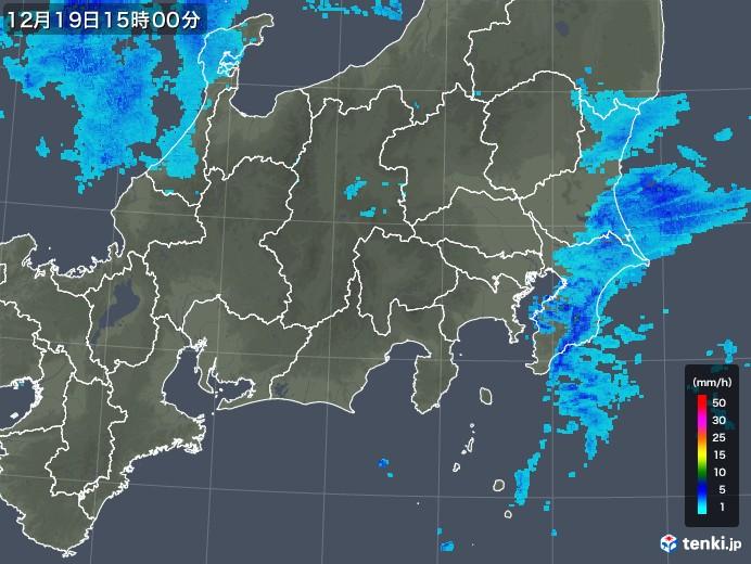 関東・甲信地方の雨雲レーダー(2019年12月19日)