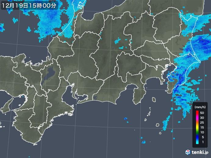 東海地方の雨雲レーダー(2019年12月19日)