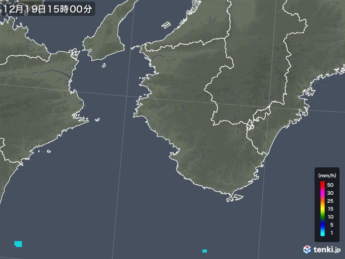 和歌山県の雨雲レーダー(2019年12月19日)