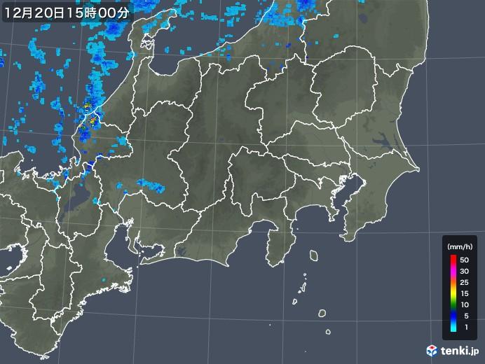 関東・甲信地方の雨雲レーダー(2019年12月20日)