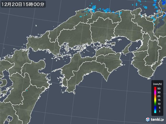 四国地方の雨雲レーダー(2019年12月20日)