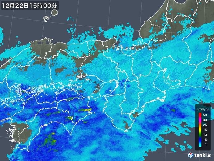 近畿地方の雨雲レーダー(2019年12月22日)