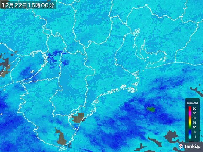 三重県の雨雲レーダー(2019年12月22日)