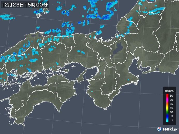 近畿地方の雨雲レーダー(2019年12月23日)