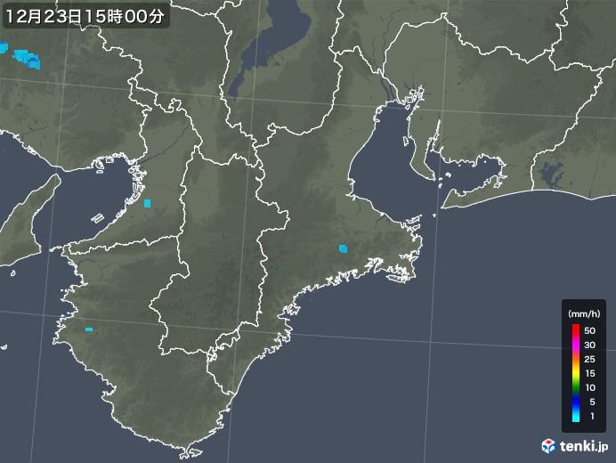 三重県の雨雲レーダー(2019年12月23日)