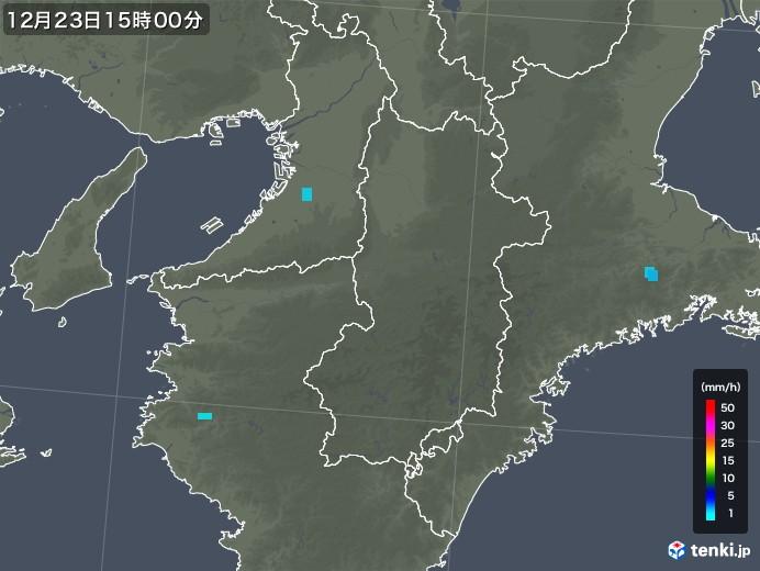 奈良県の雨雲レーダー(2019年12月23日)