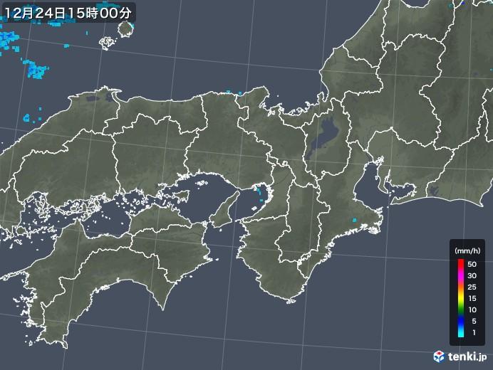 近畿地方の雨雲レーダー(2019年12月24日)