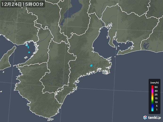 三重県の雨雲レーダー(2019年12月24日)