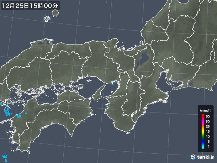 近畿地方の雨雲レーダー(2019年12月25日)