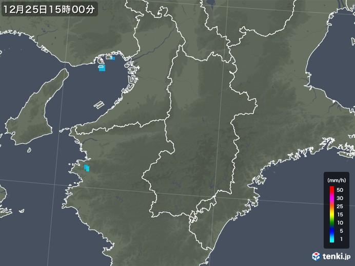 奈良県の雨雲レーダー(2019年12月25日)