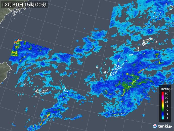 沖縄地方の雨雲レーダー(2019年12月30日)