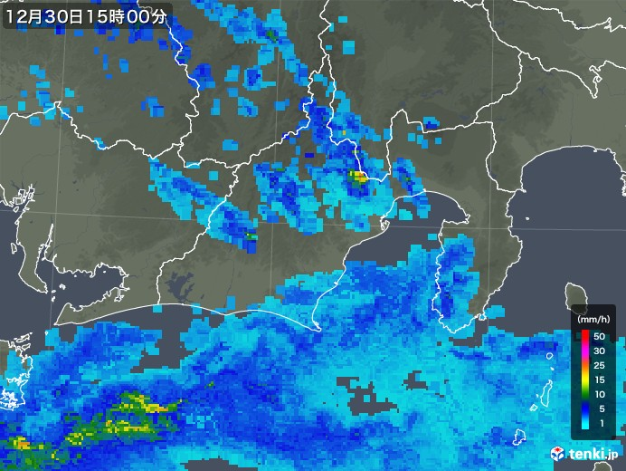 静岡県の雨雲レーダー(2019年12月30日)