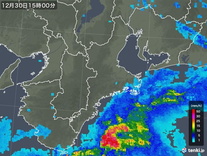 三重県の雨雲レーダー(2019年12月30日)