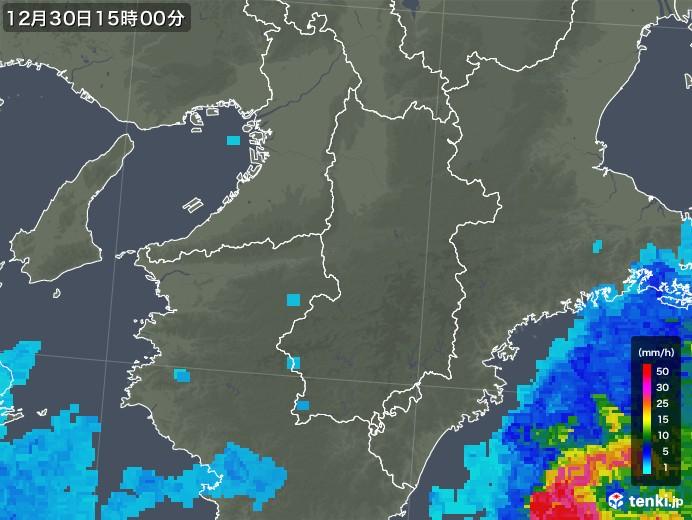 奈良県の雨雲レーダー(2019年12月30日)