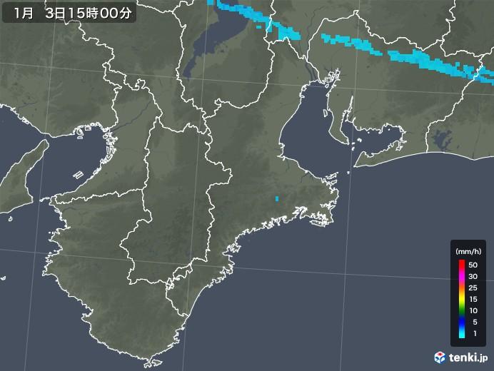 三重県の雨雲レーダー(2020年01月03日)
