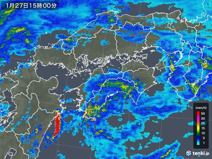 四国地方の雨雲レーダー(2020年01月27日)