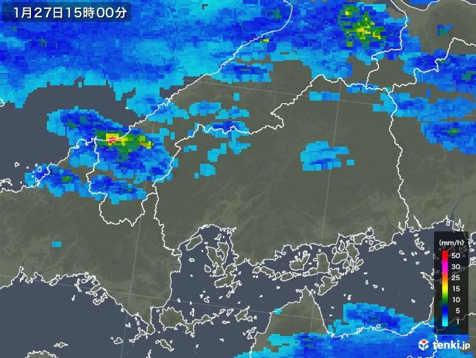 広島県の雨雲レーダー(2020年01月27日)