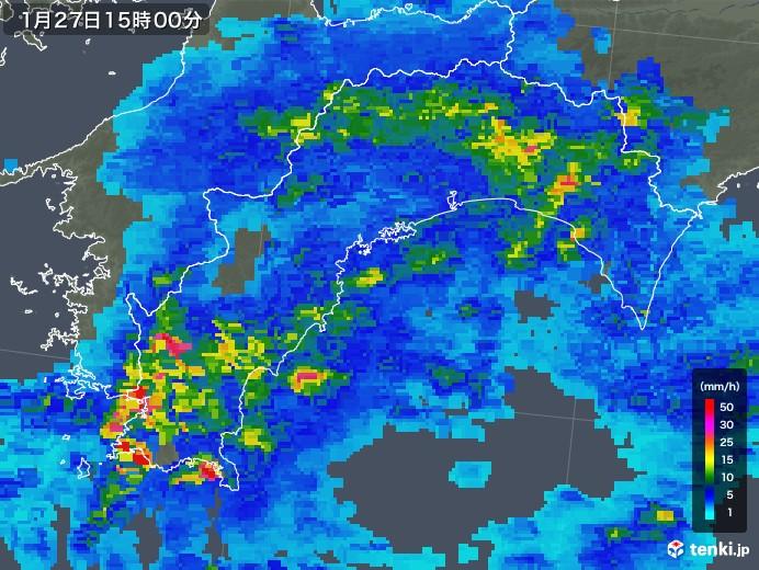 高知県の雨雲レーダー(2020年01月27日)