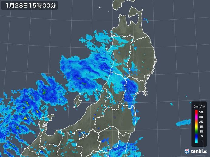 東北地方の雨雲レーダー(2020年01月28日)