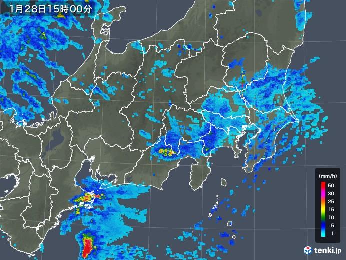 関東・甲信地方の雨雲レーダー(2020年01月28日)