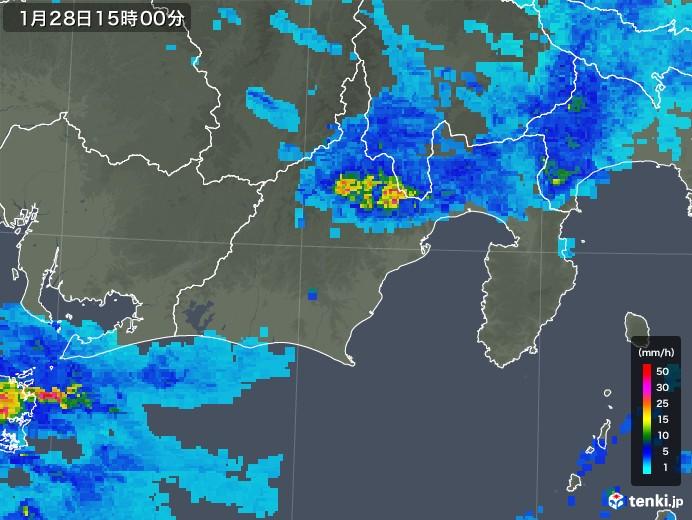 静岡県の雨雲レーダー(2020年01月28日)