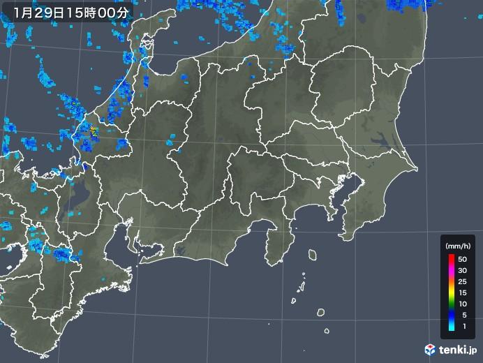 関東・甲信地方の雨雲レーダー(2020年01月29日)