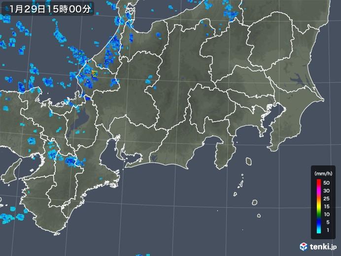 東海地方の雨雲レーダー(2020年01月29日)