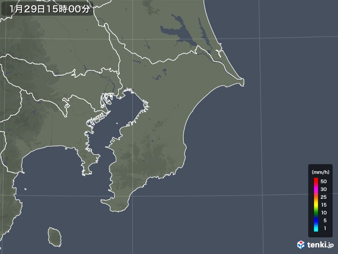 千葉県の雨雲レーダー(2020年01月29日)