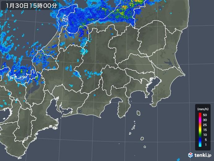関東・甲信地方の雨雲レーダー(2020年01月30日)
