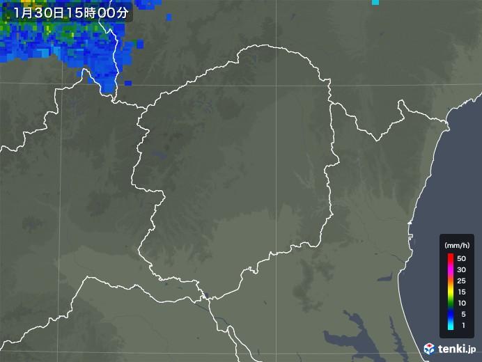 栃木県の雨雲レーダー(2020年01月30日)