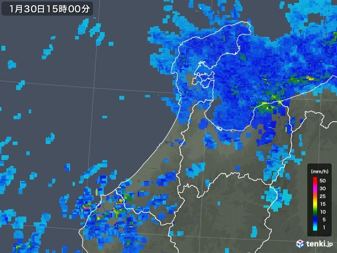石川県の雨雲レーダー(2020年01月30日)