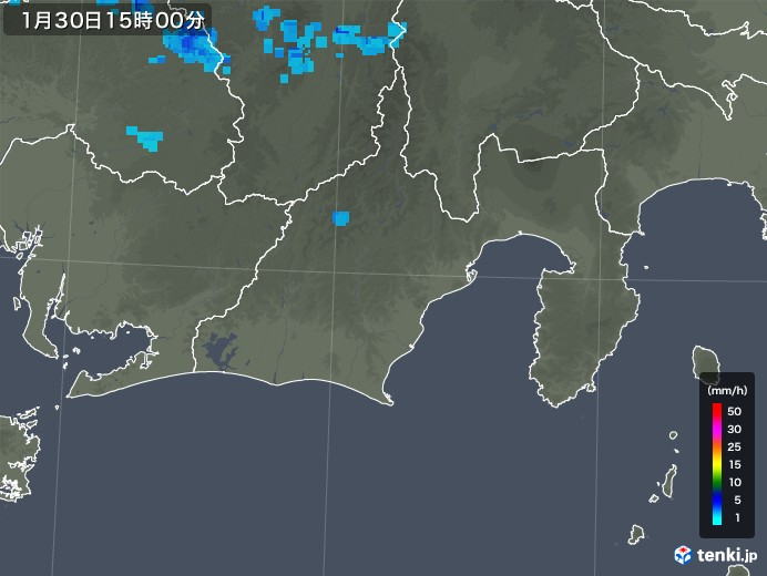 静岡県の雨雲レーダー(2020年01月30日)