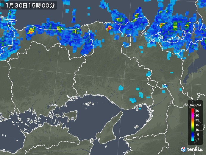 兵庫県の雨雲レーダー(2020年01月30日)