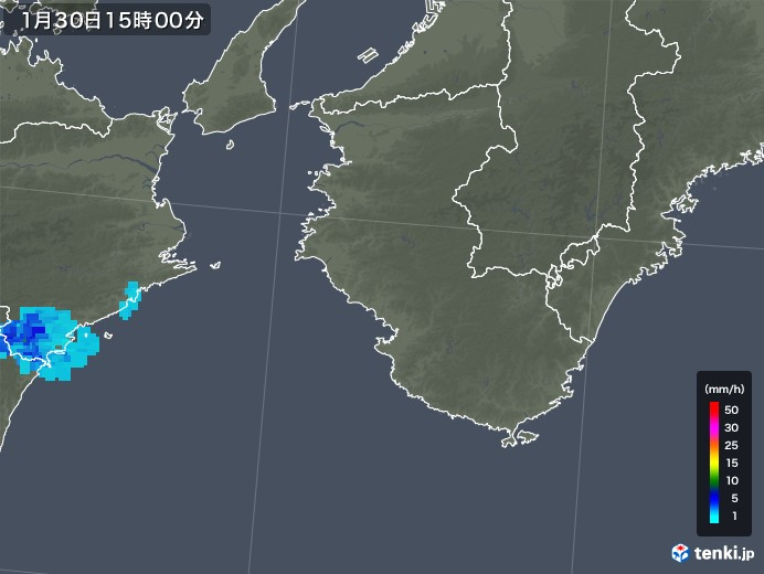 和歌山県の雨雲レーダー(2020年01月30日)