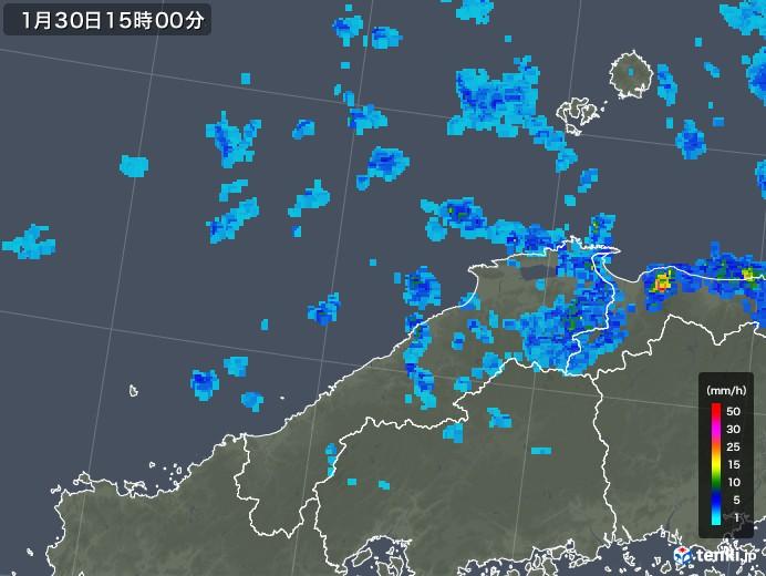 島根県の雨雲レーダー(2020年01月30日)