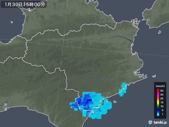 徳島県の雨雲レーダー(2020年01月30日)