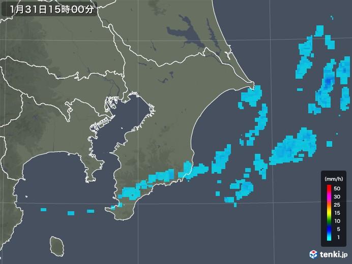 千葉県の雨雲レーダー(2020年01月31日)