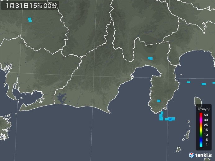 静岡県の雨雲レーダー(2020年01月31日)