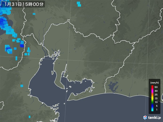 愛知県の雨雲レーダー(2020年01月31日)