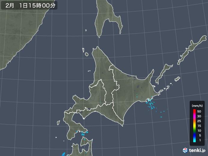 北海道地方の雨雲レーダー(2020年02月01日)