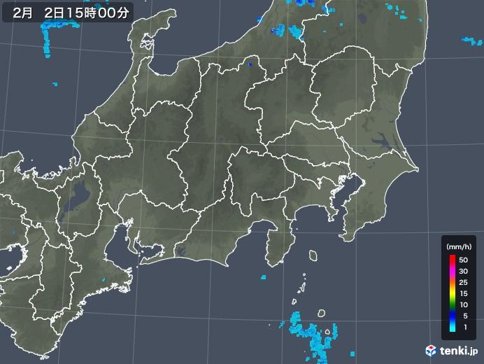関東・甲信地方の雨雲レーダー(2020年02月02日)