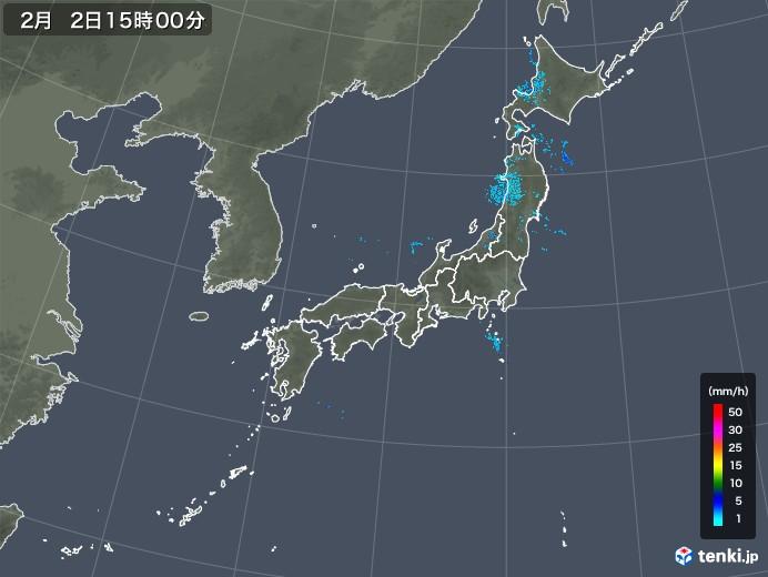 雨雲レーダー(2020年02月02日)