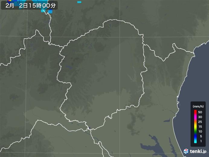 栃木県の雨雲レーダー(2020年02月02日)